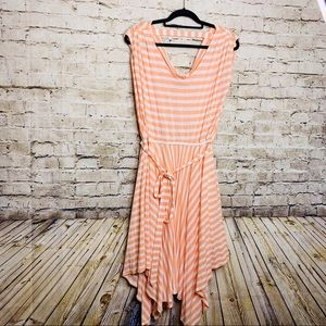 RAFAELLA Handkerchief Dress orange & white stripe